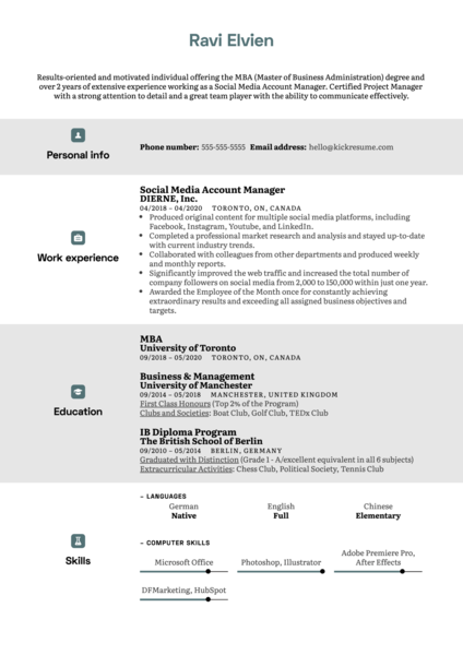 MBA Modern Resume Template