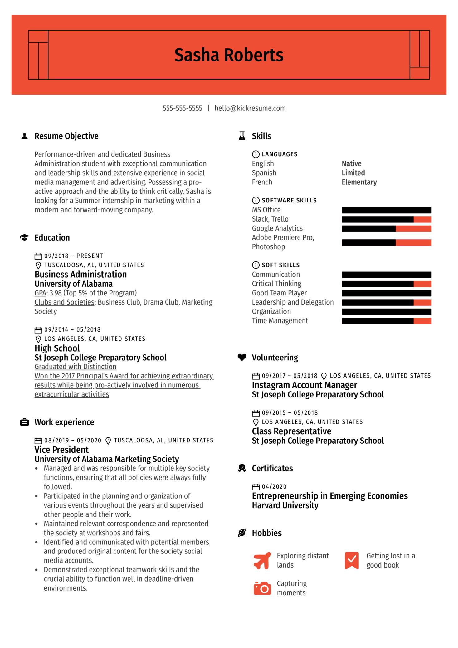 College Simple Resume Template Kickresume