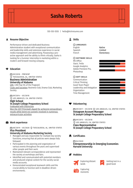 College Simple Resume Template