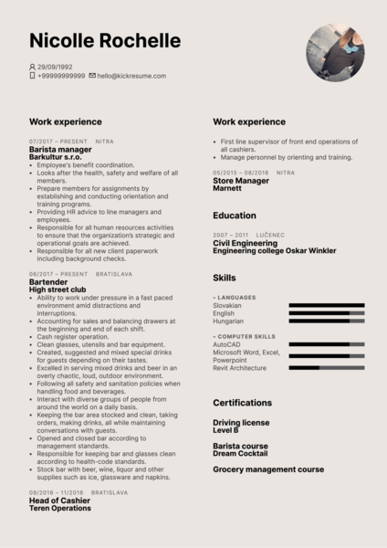 Barista Manager Resume Example
