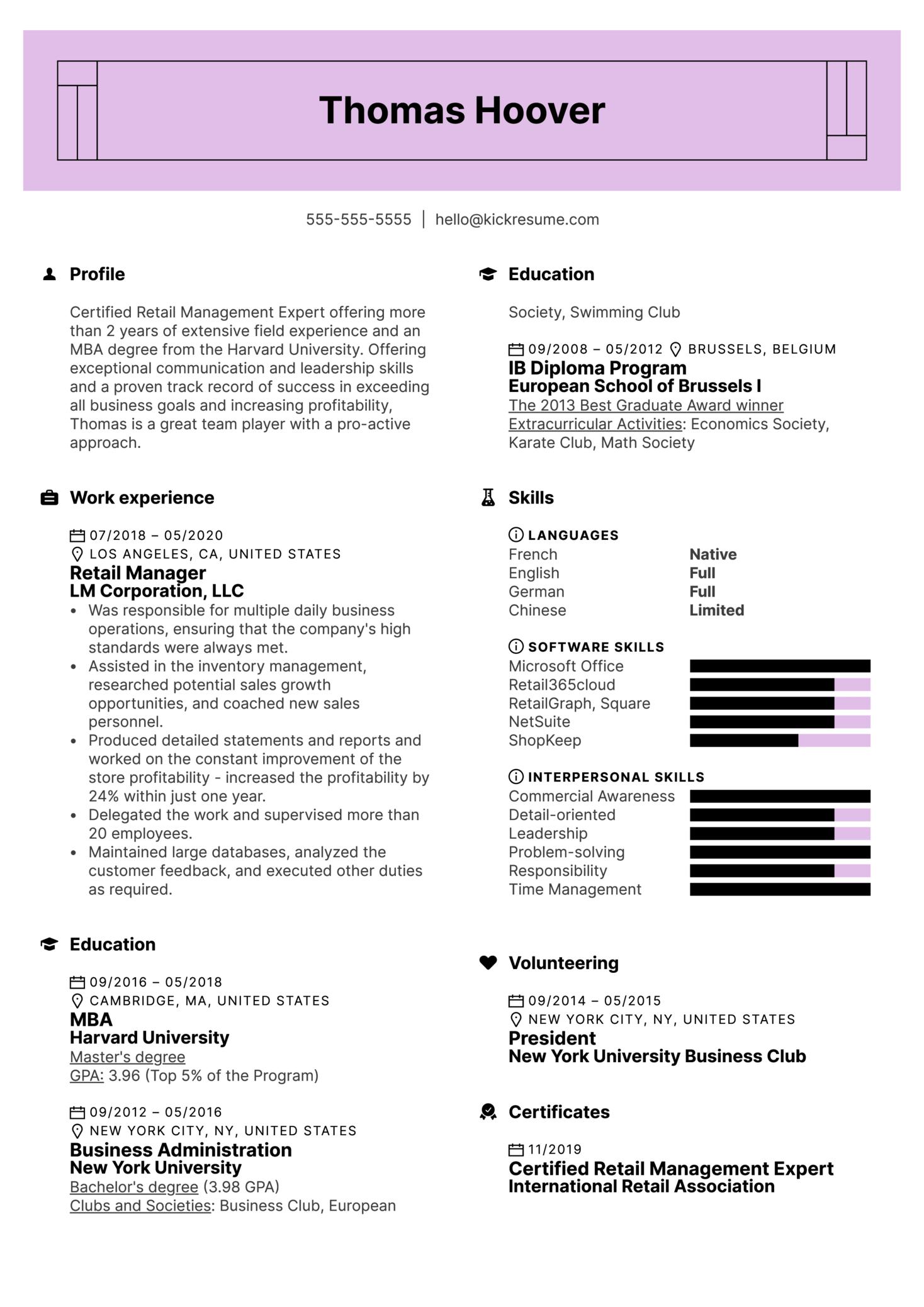 Modern Retail Management Resume Example (Part 1)