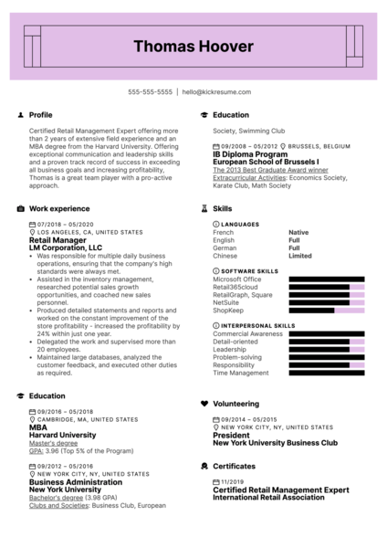 Modern Retail Management Resume Example