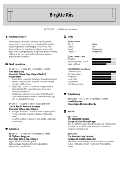 Modern Resume For College Application Example