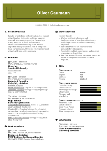 Free Academic Resume Template