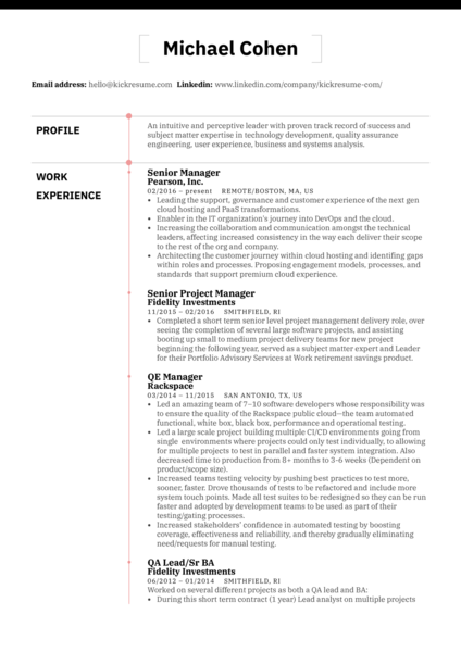 Pearson Senior Project Manager Resume Example