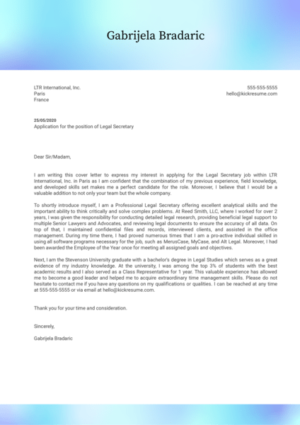 Legal Secretary Cover Letter Example