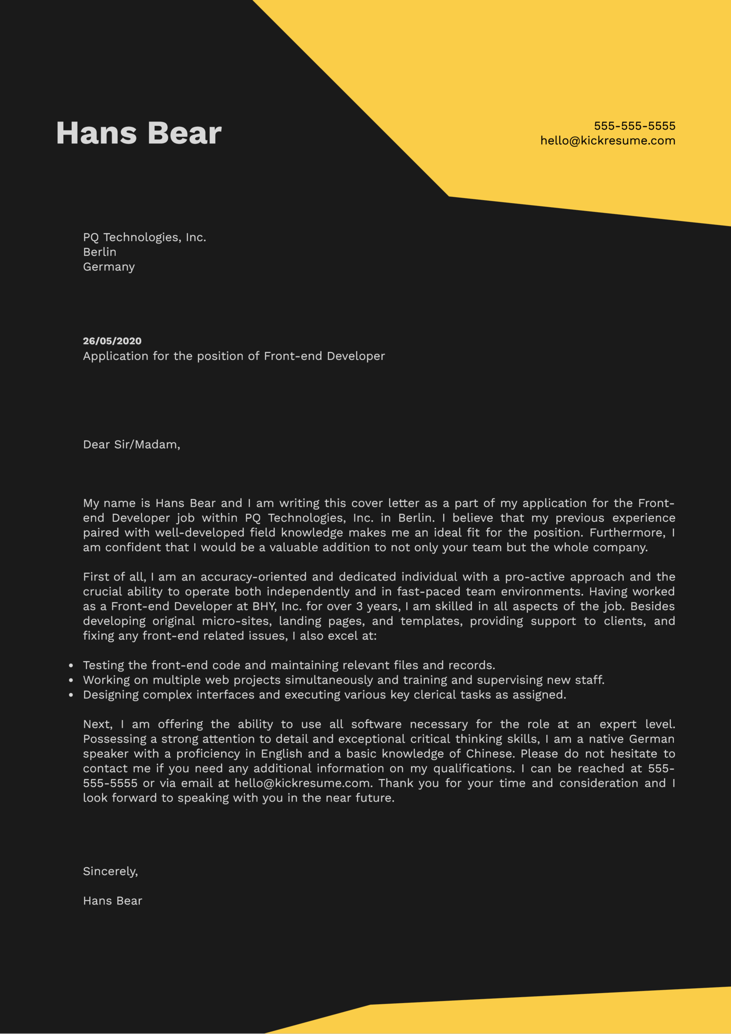 Front-end Developer Cover Letter Example