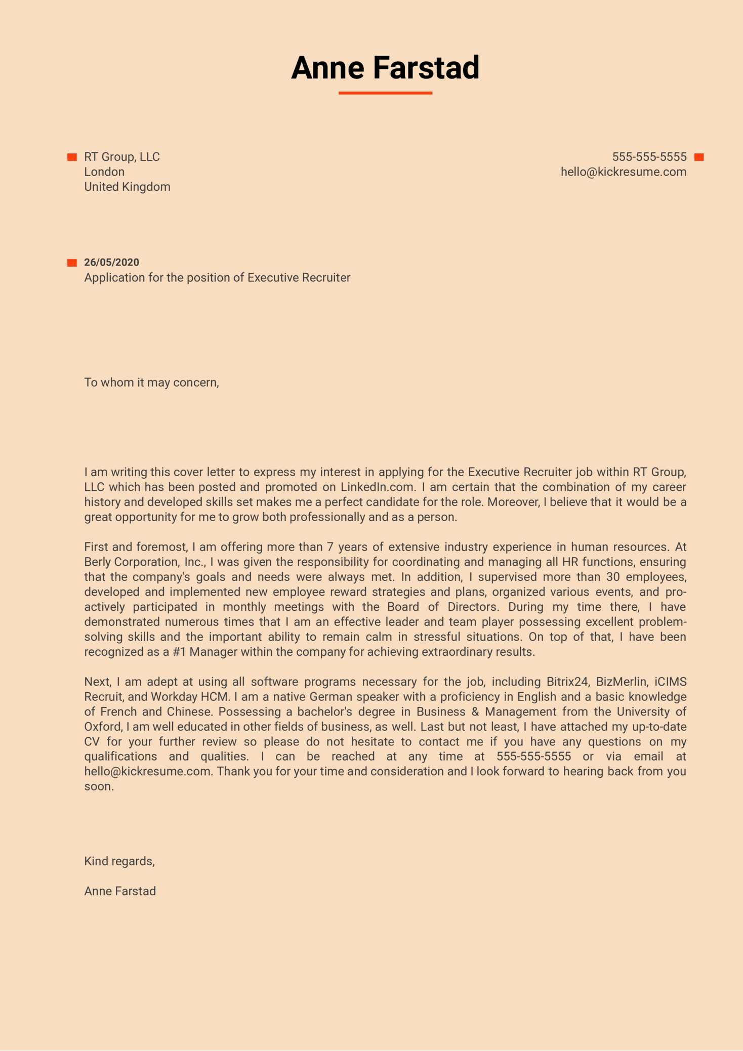 Executive Recruiter Cover Letter Sample Kickresume