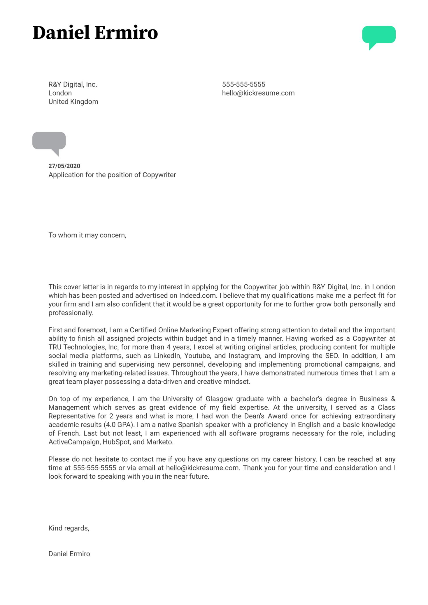 Copywriter Cover Letter Example