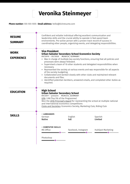 Student Resume Summer Job Kickresume