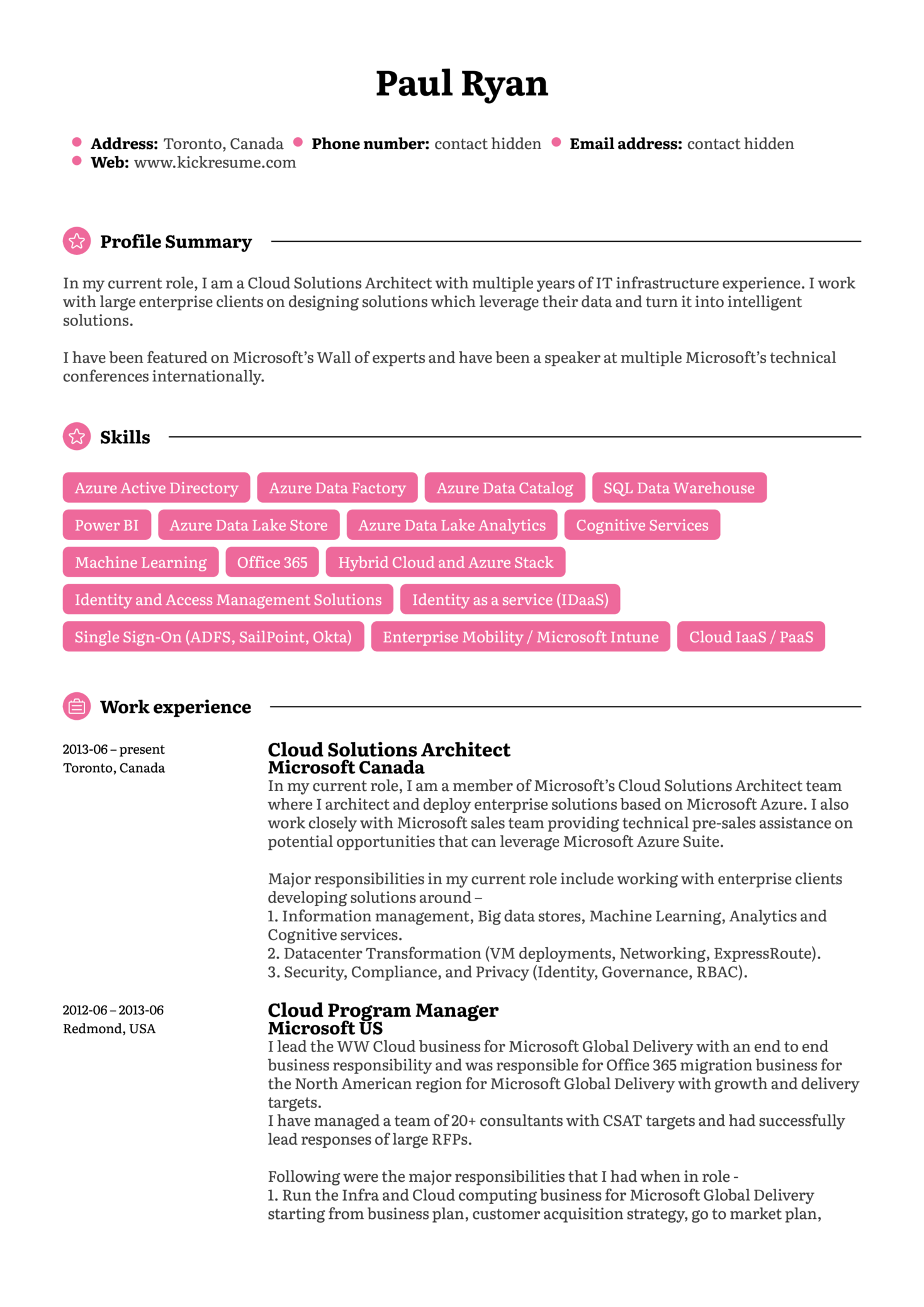 Microsoft Cloud Program Manager Resume Template