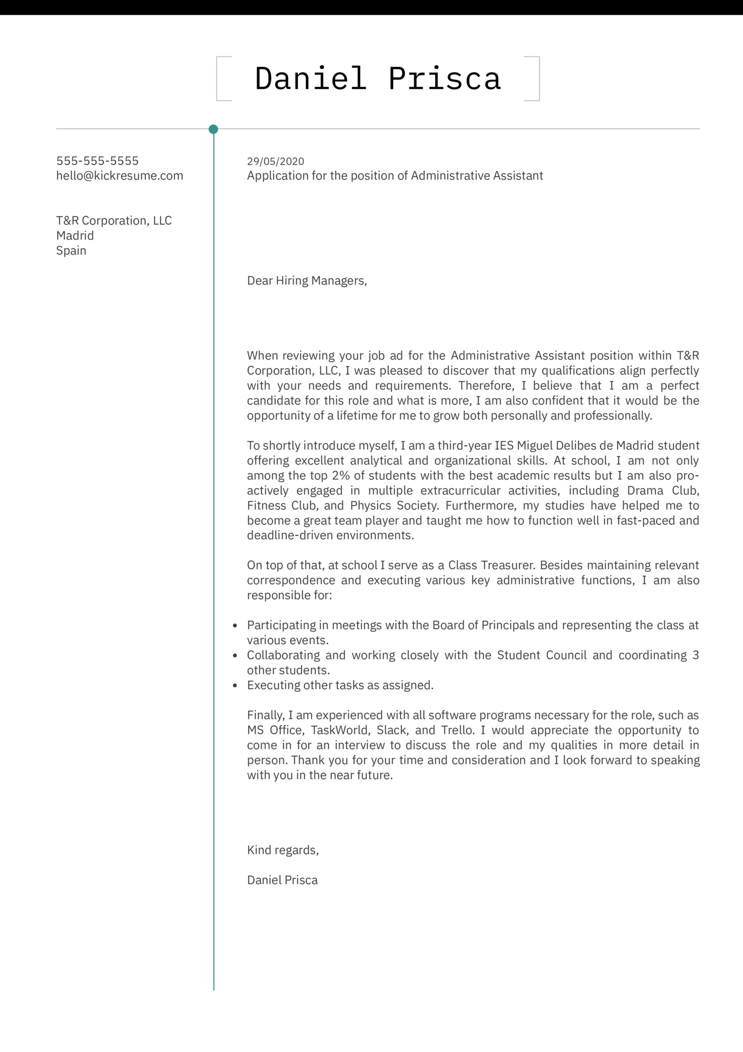 Experience Cover Letter Template