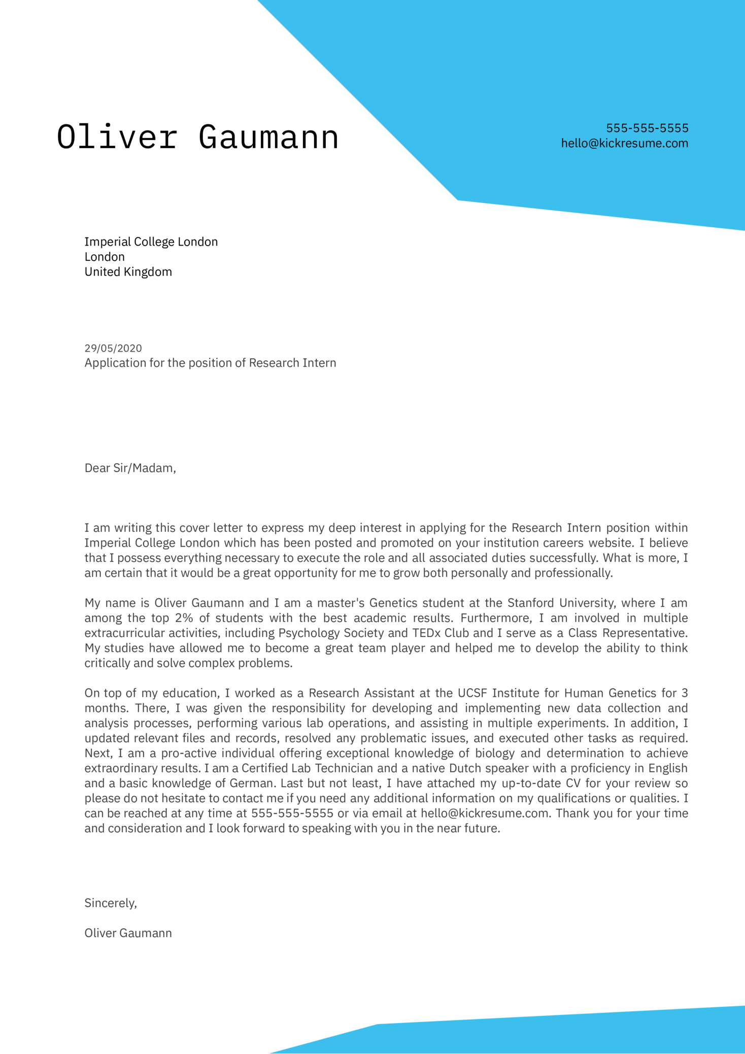 Academic Cover Letter Example