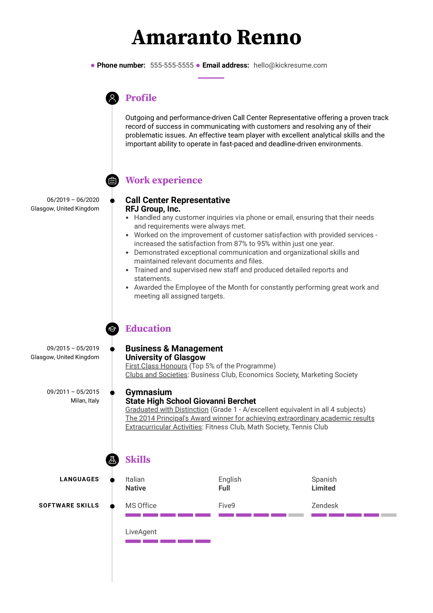 Modern Call Center Resume Sample