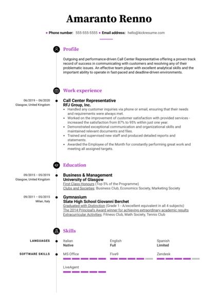 Modern Call Center Resume Sample