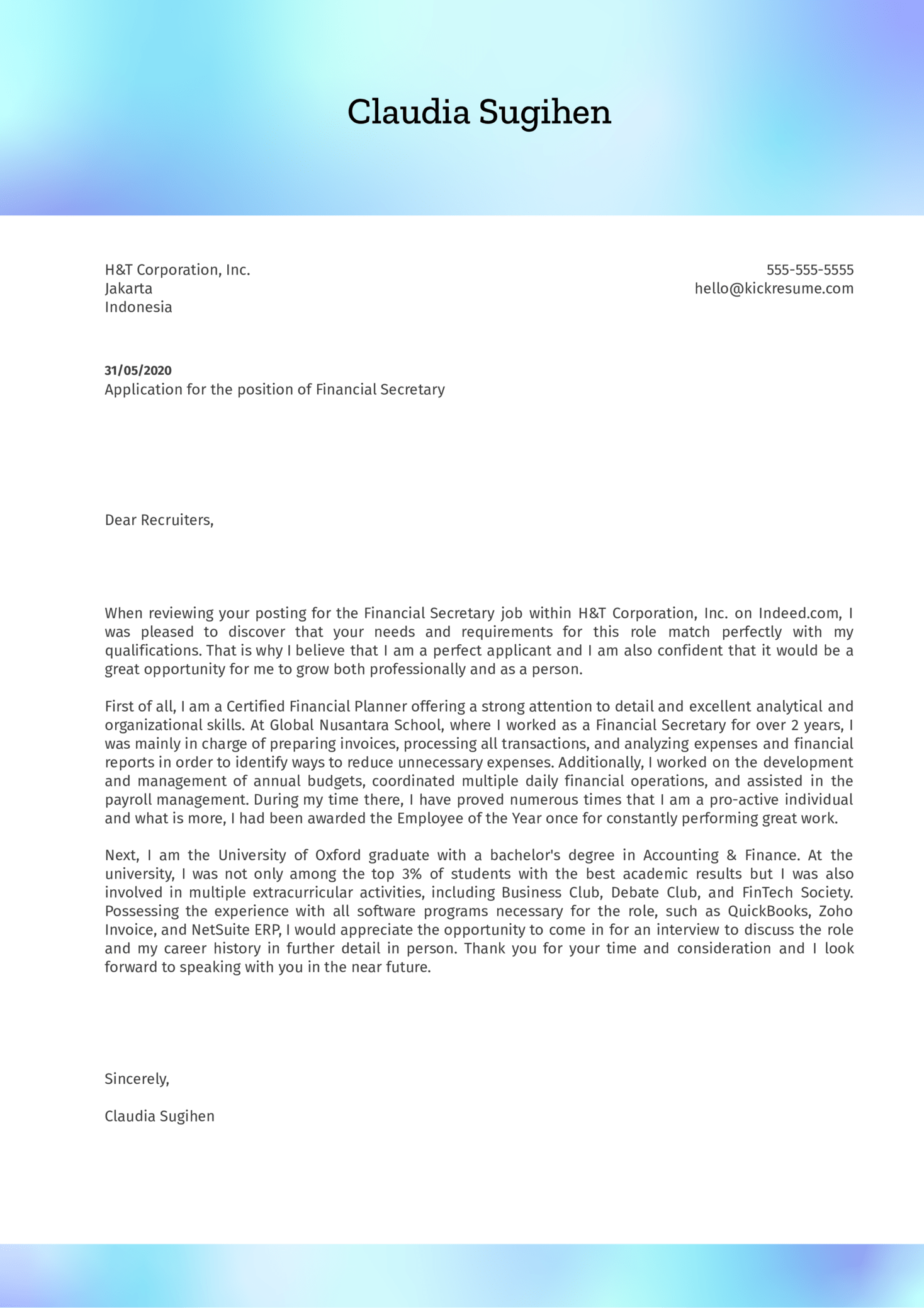 Financial Secretary Cover Letter Example