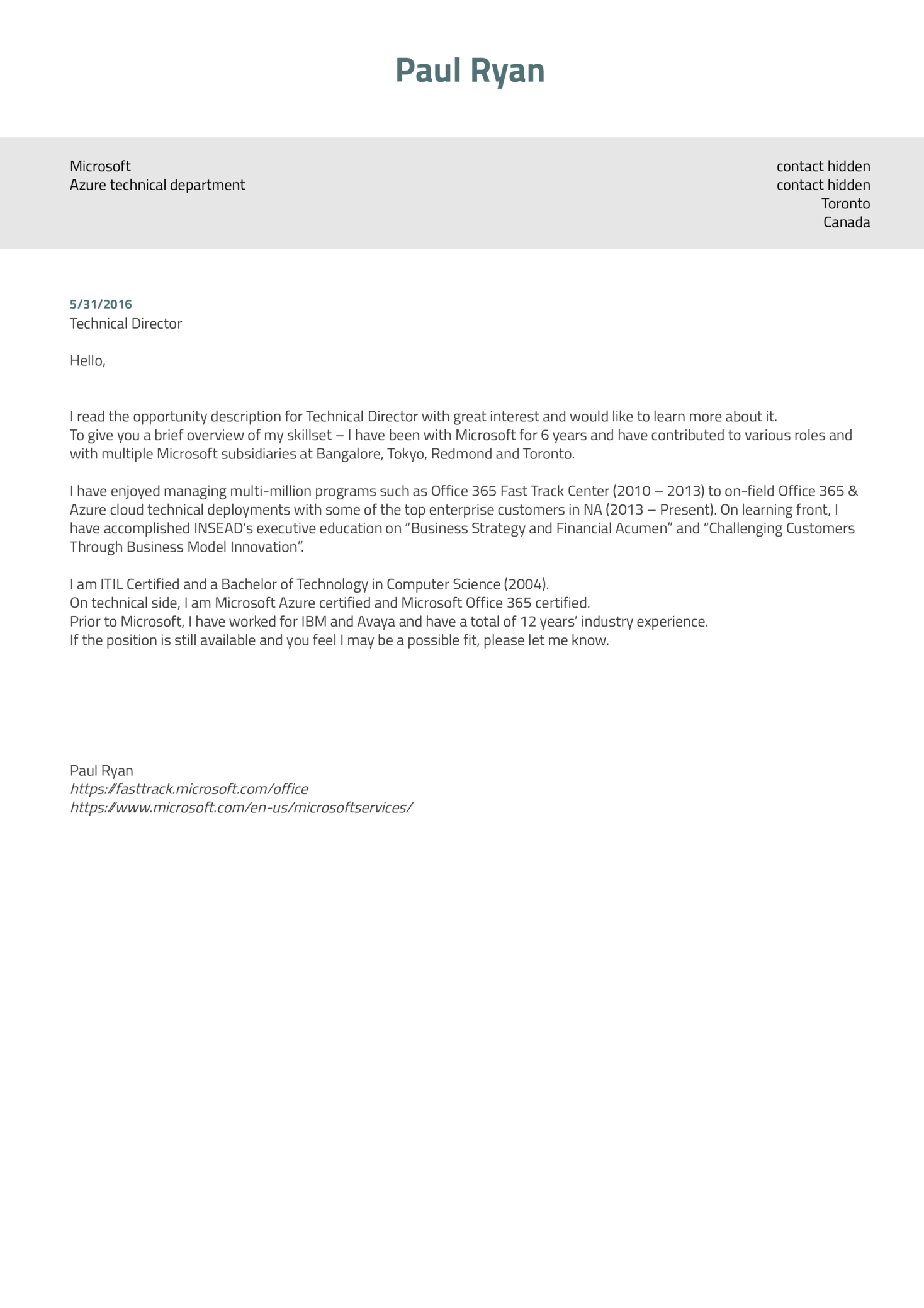 Cover Letter Examples by Real People: Microsoft technical director ...
