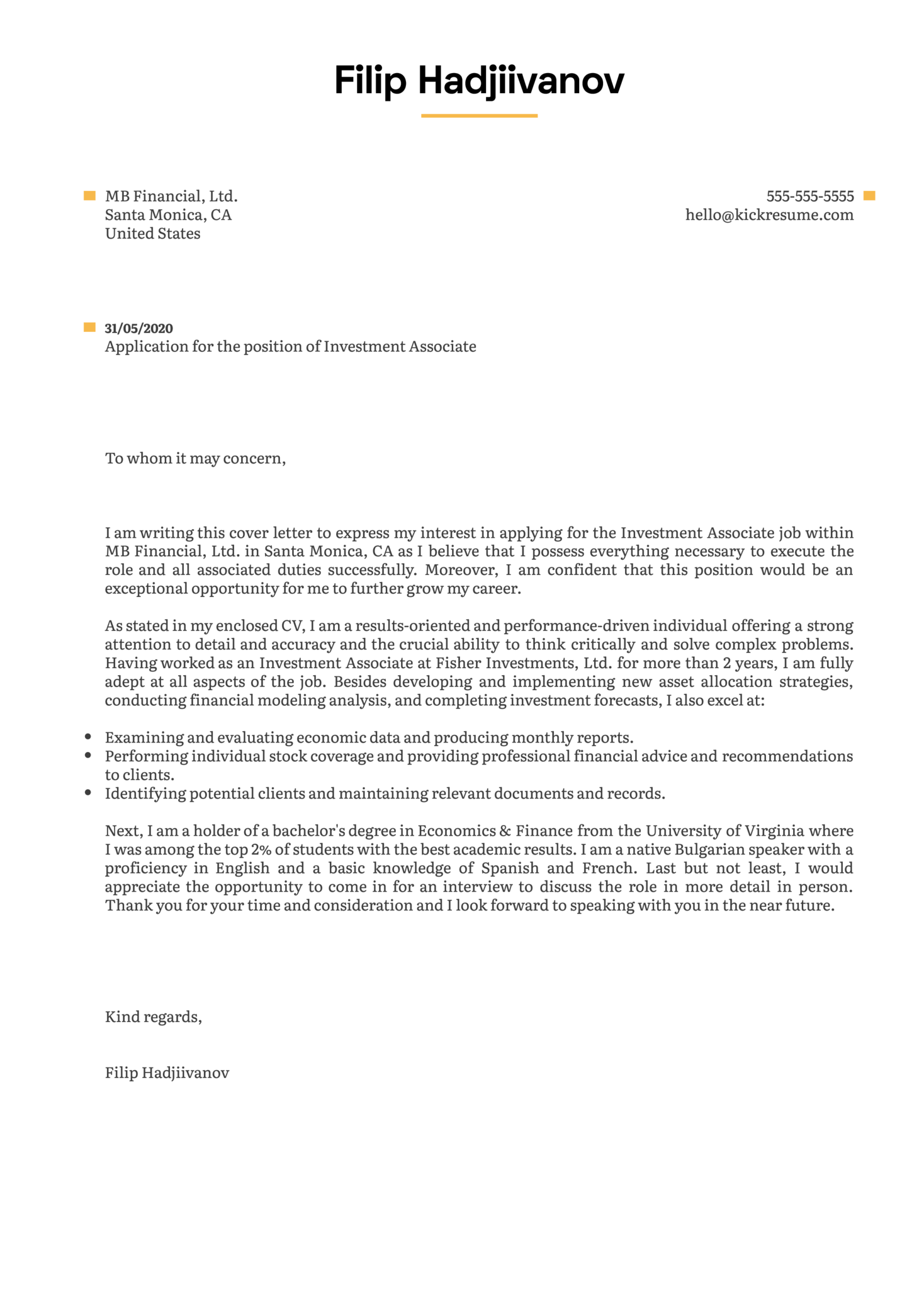Investment Associate Cover Letter Example Kickresume