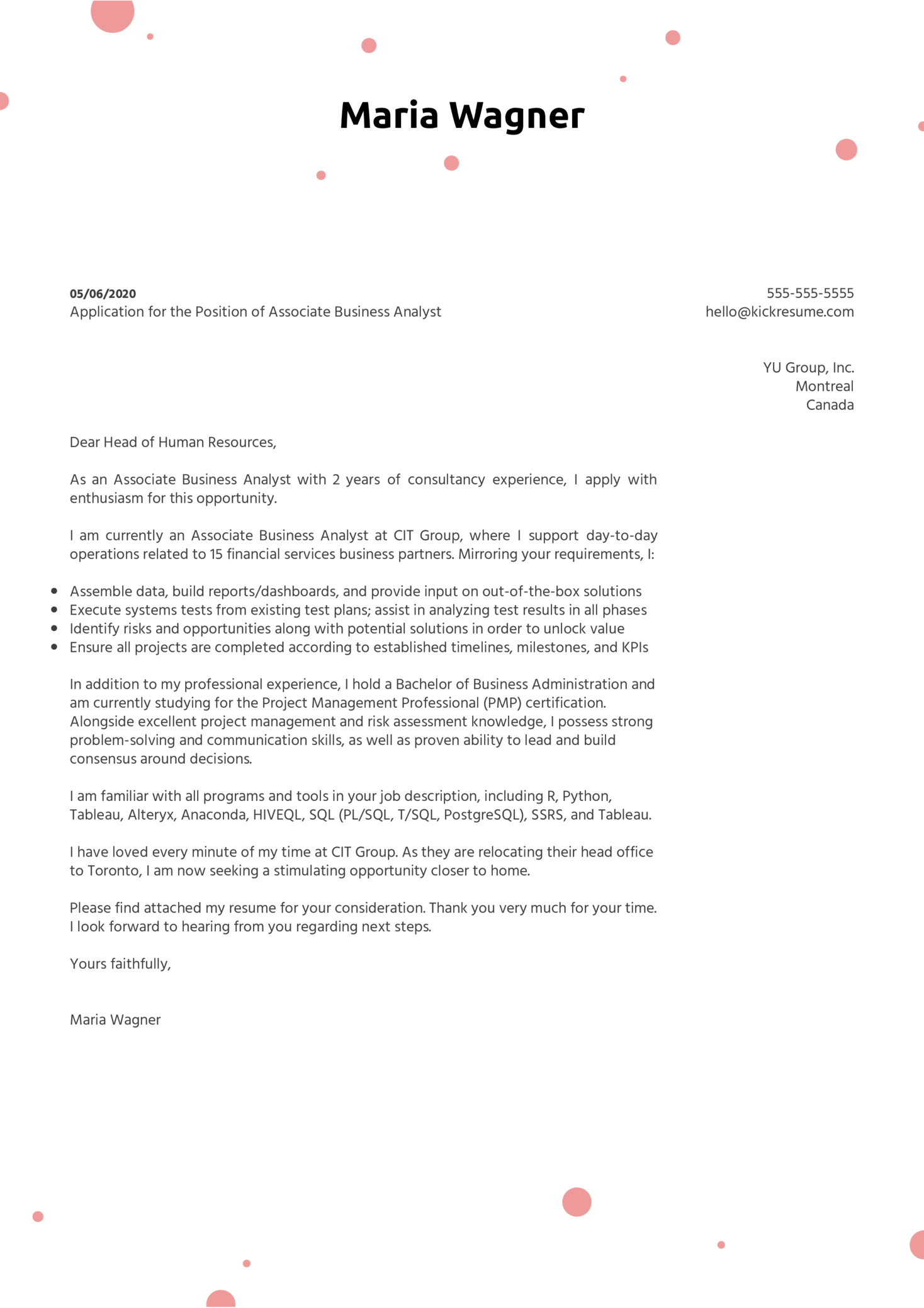 Associate Business Analyst Cover Letter Sample