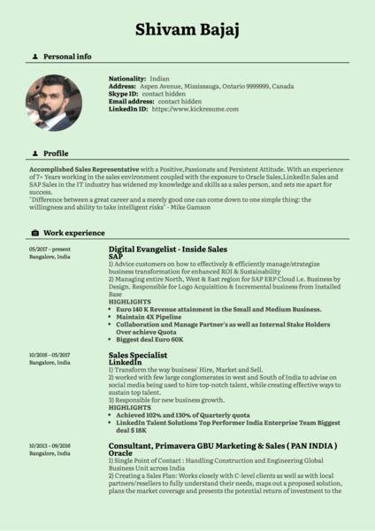 SAP Inside Sales Manager Resume Template