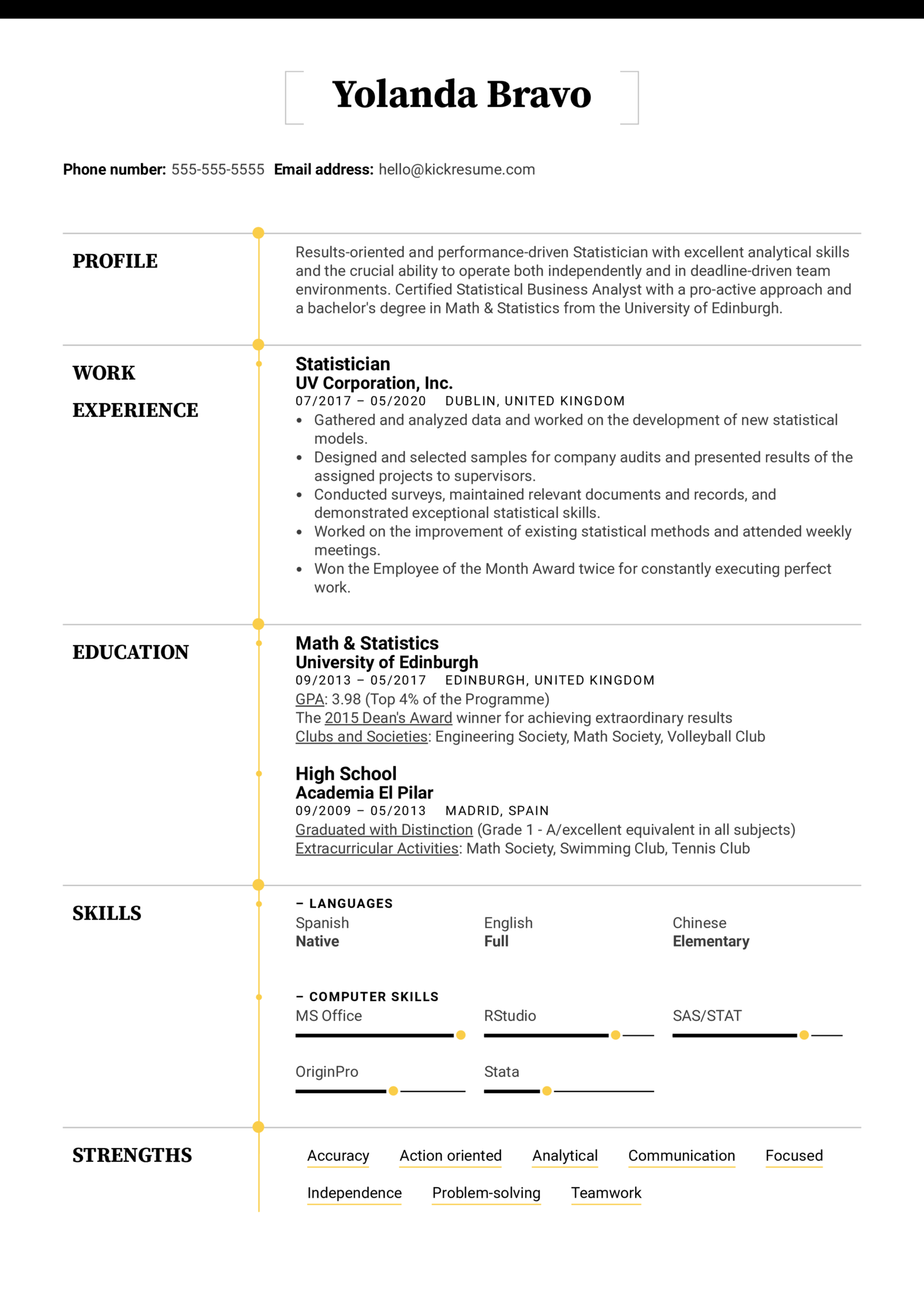 Statistician Resume Example (Parte 1)