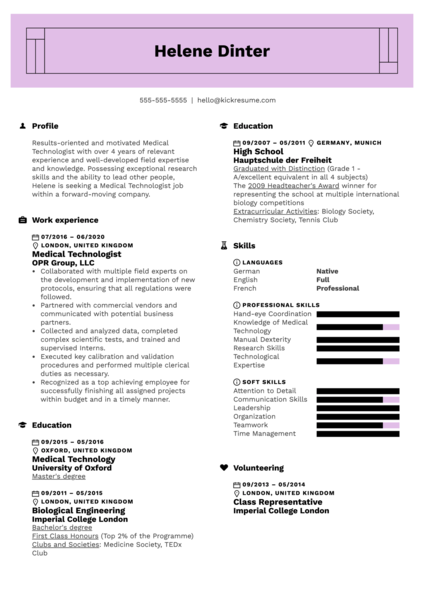 Medical Technologist Resume Sample