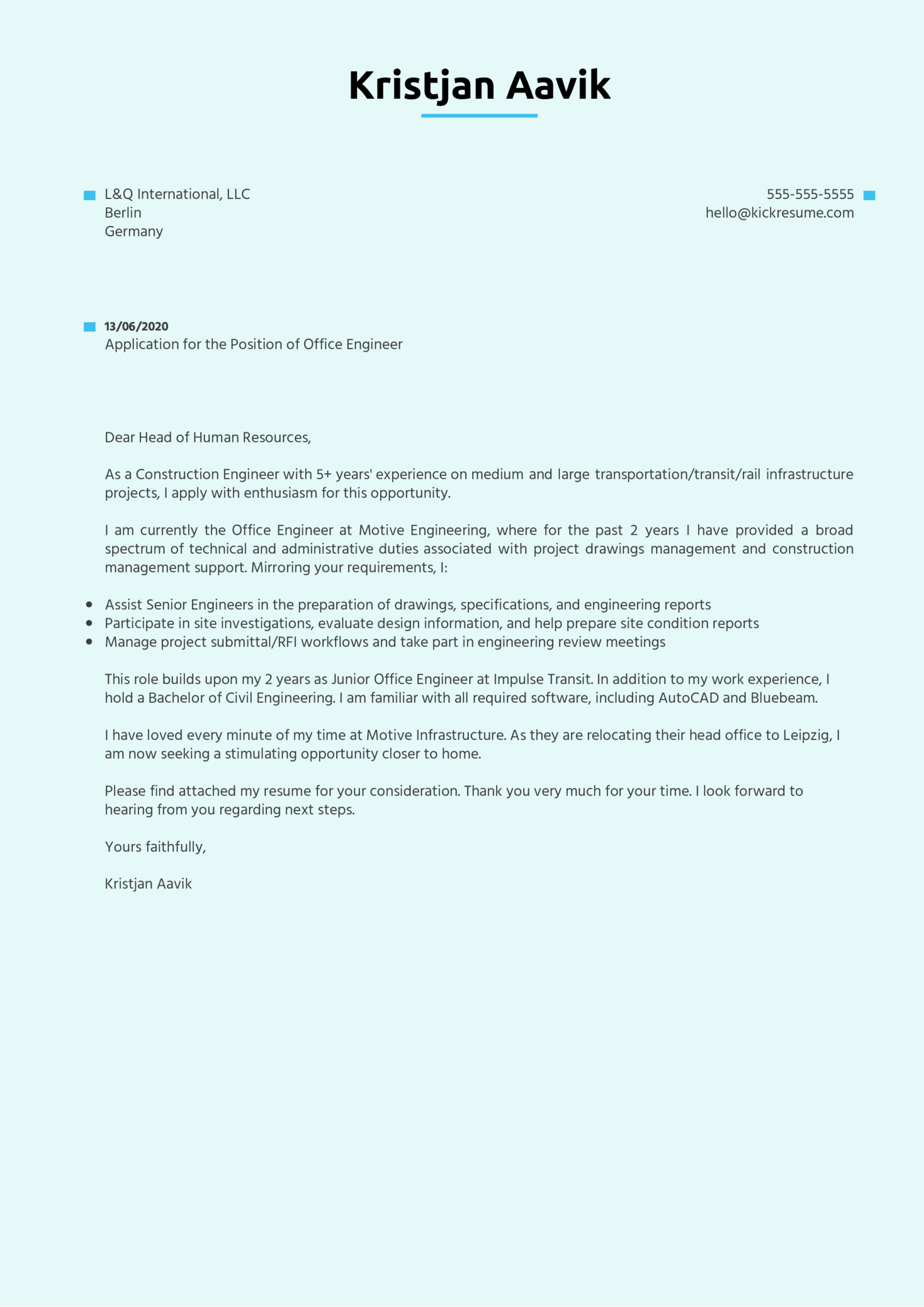 Office Engineer Cover Letter Sample