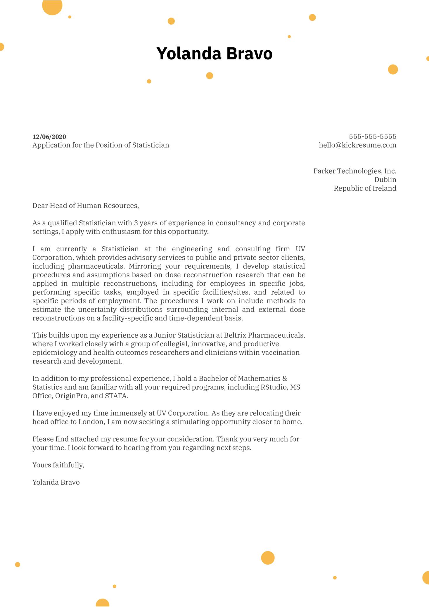 Statistician Cover Letter Sample | Kickresume
