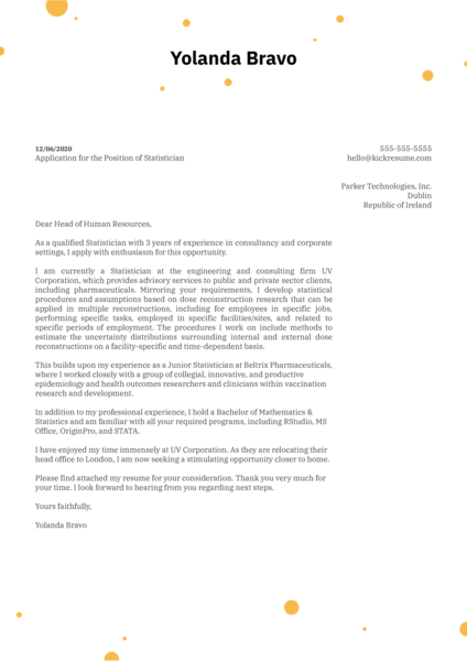 Statistician Cover Letter Sample