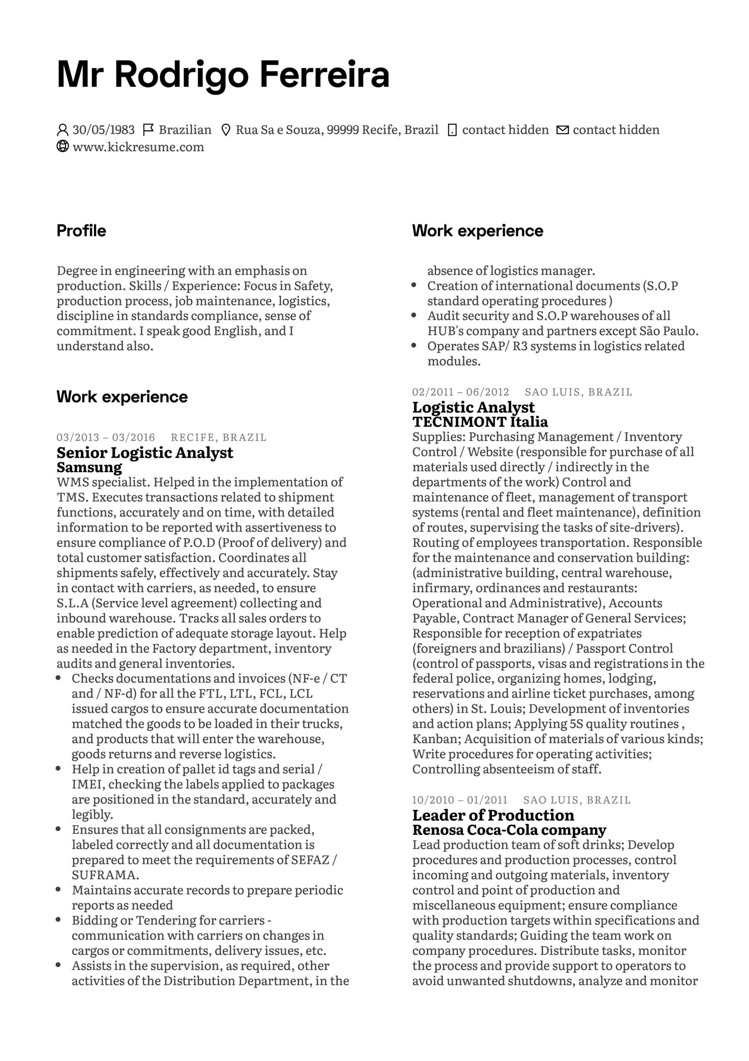 Leader of Production at Samsung Resume Sample