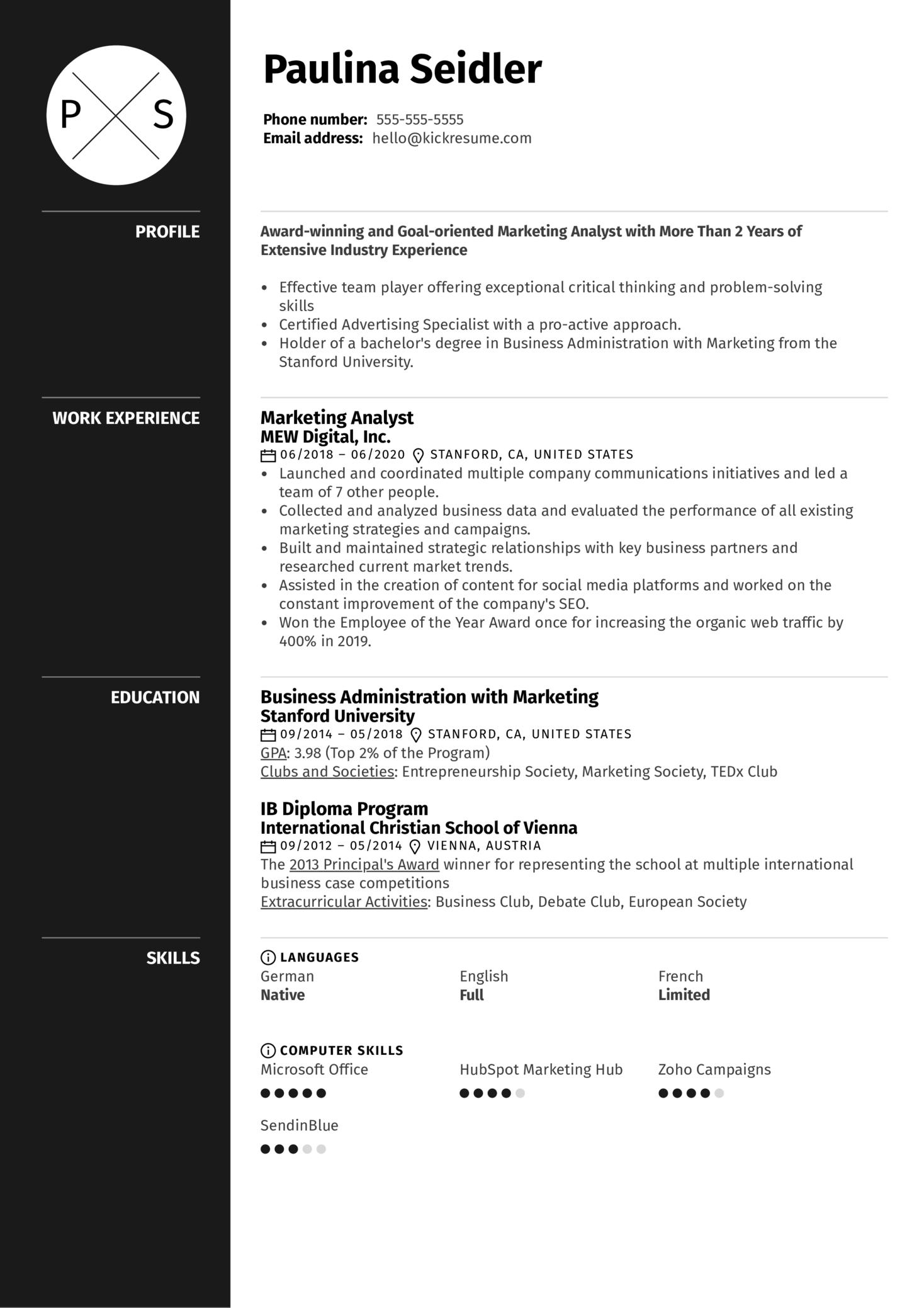 Resume Headline Example Kickresume