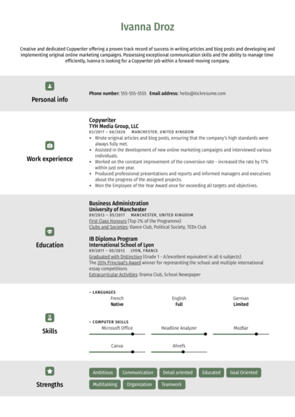 Creative Copywriter Resume Template