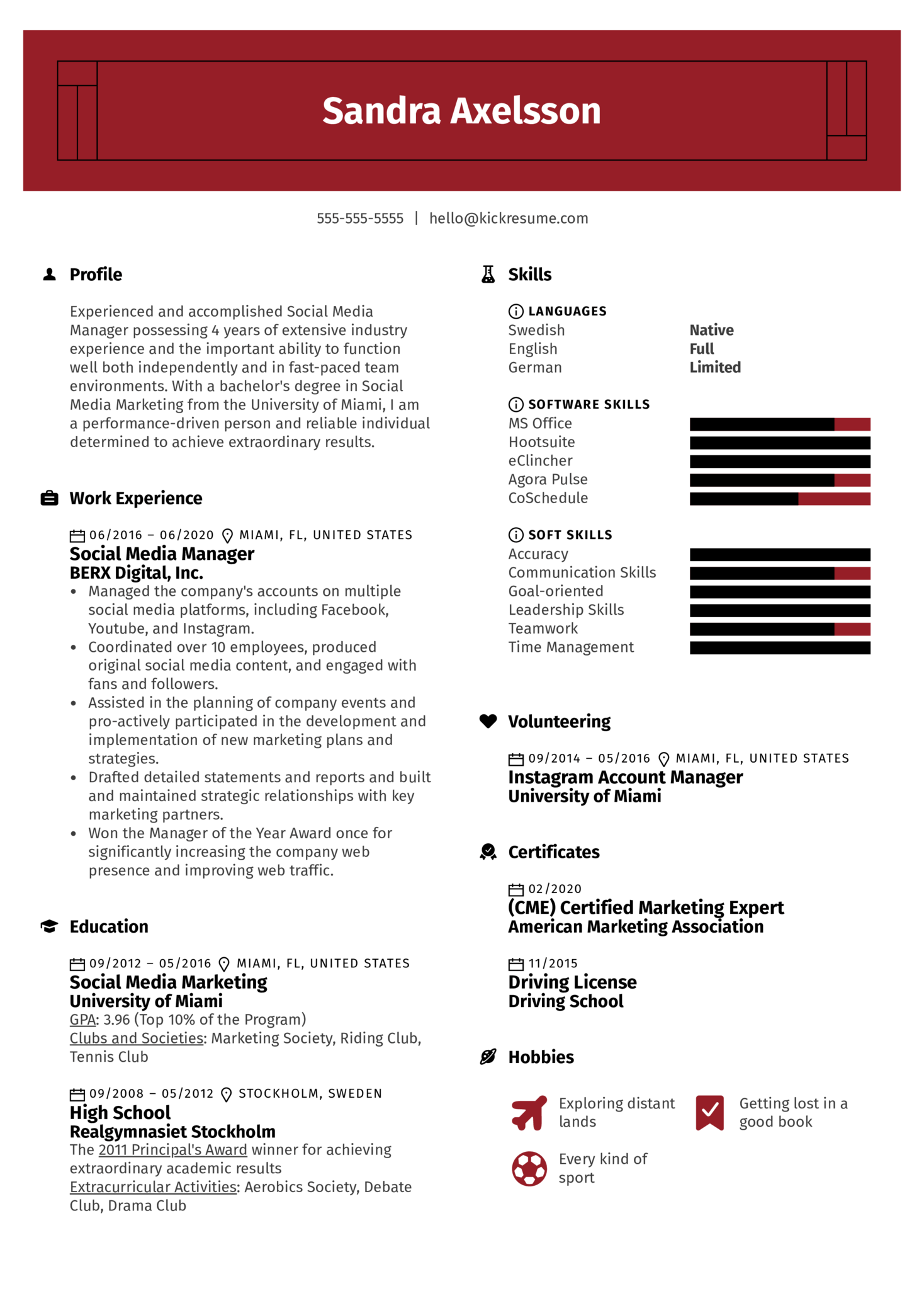 Professional Social Media Manager Resume Sample