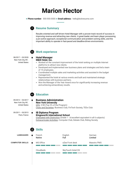 Free Hotel Manager Resume Sample
