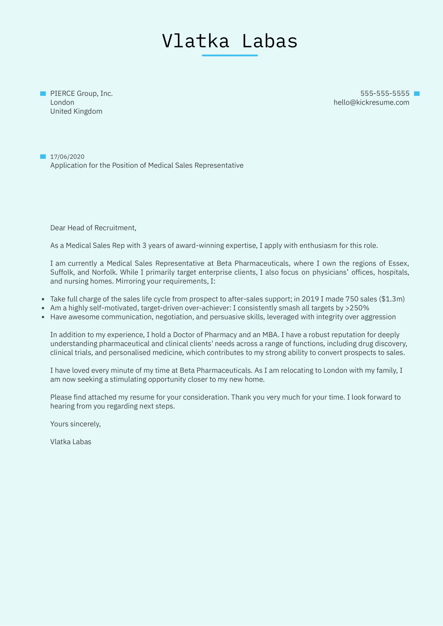 Medical Sales Representative Cover Letter Example Kickresume