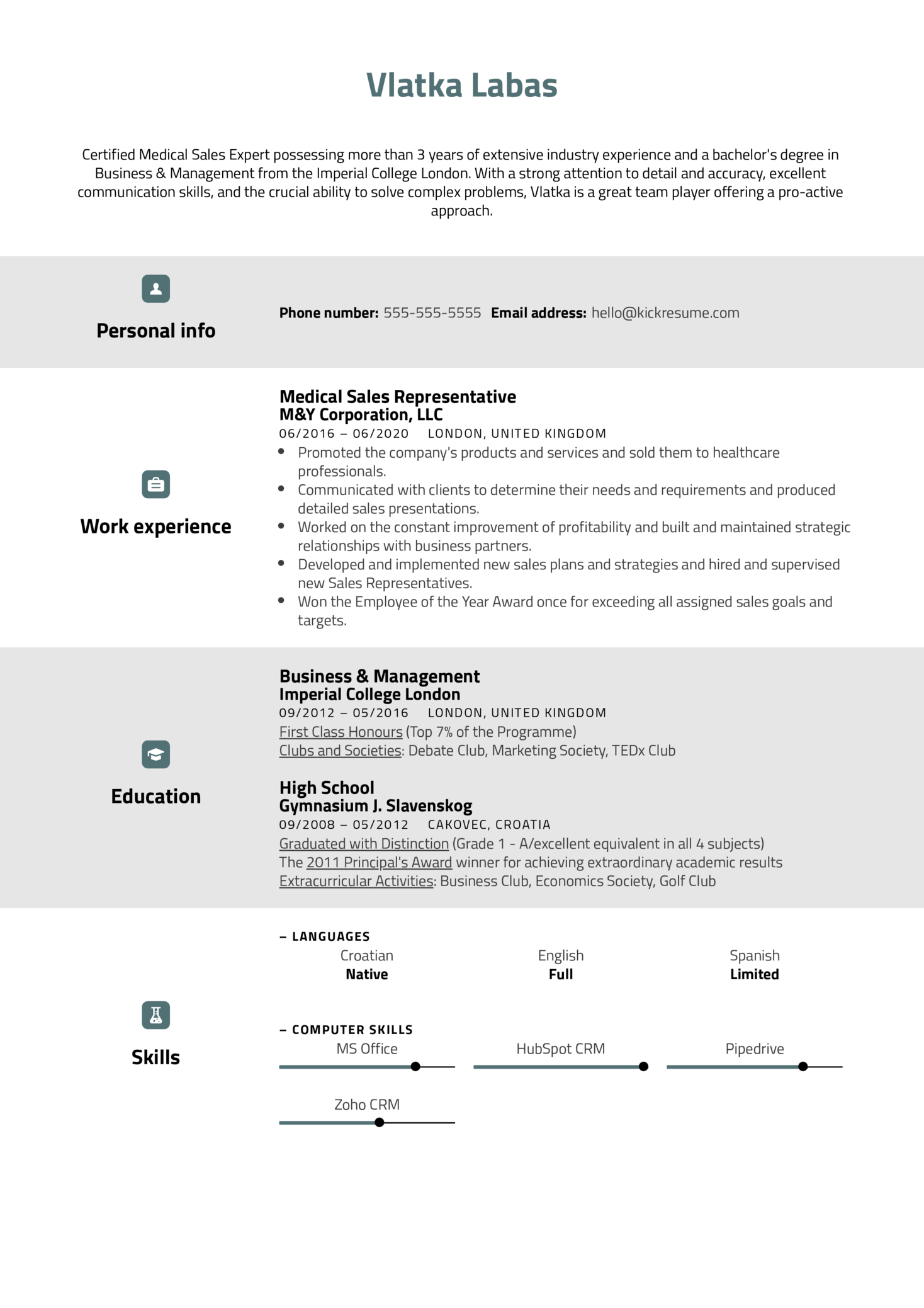 Medical Sales Representative Resume Sample (Parte 1)