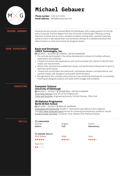 Original Back-end Developer Resume Sample