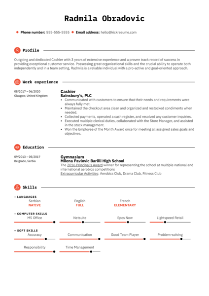 Modern Cashier Resume Example