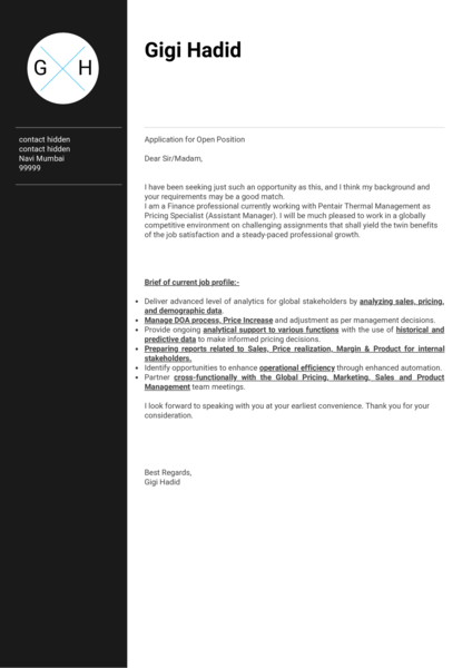 Honeywell pricing analyst cover letter sample