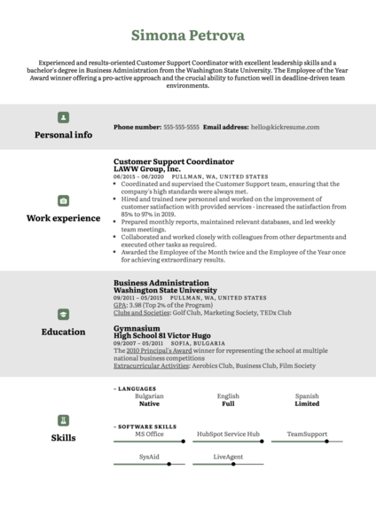 Free Customer Support CV Example