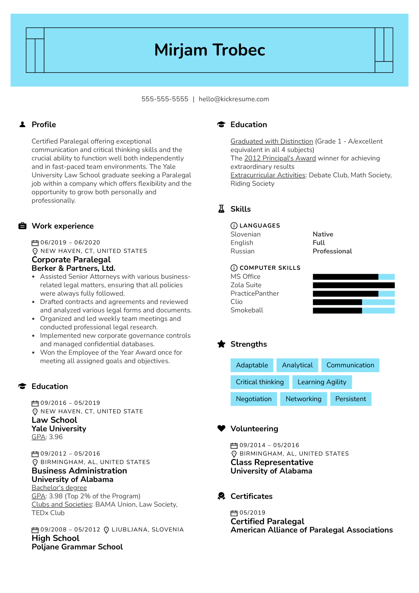 Paralegal Resume Sample