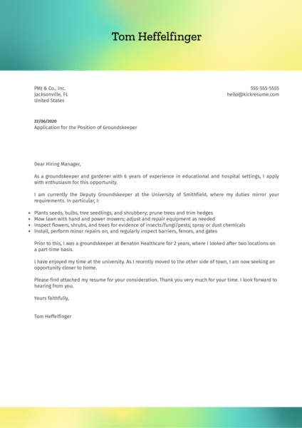 Groundskeeper Cover Letter Example