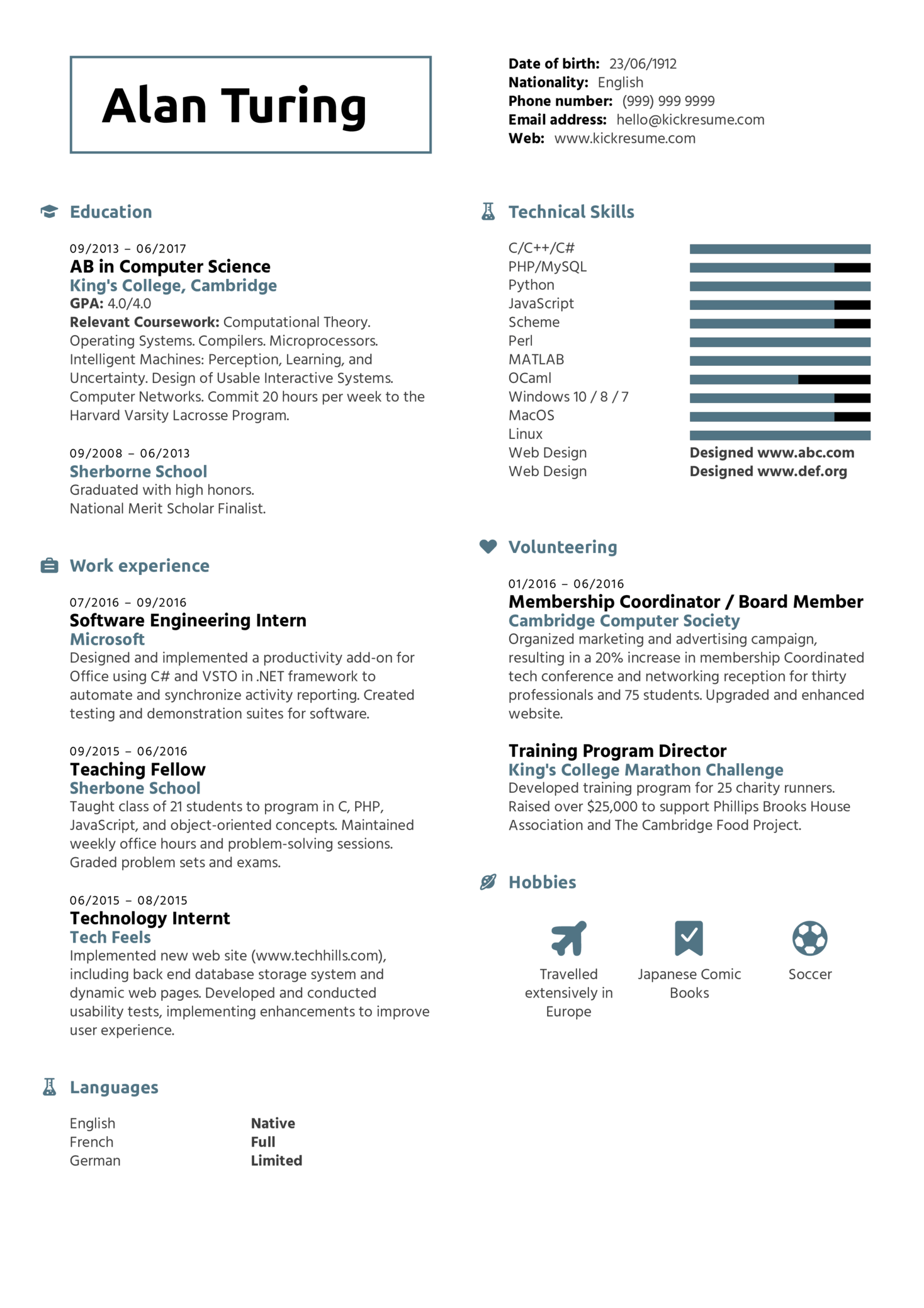 Student Resume Computer Science Kickresume
