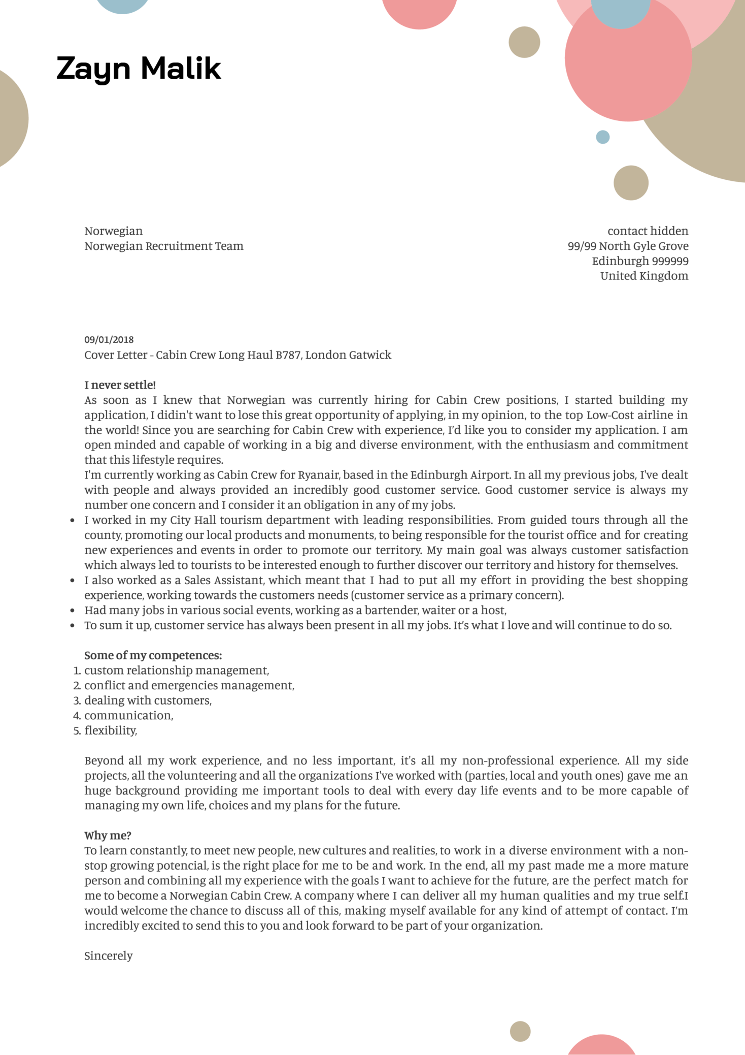Cover letter examples by real people norwegian cabin crew cover norwegian cabin crew cover letter sample altavistaventures Gallery