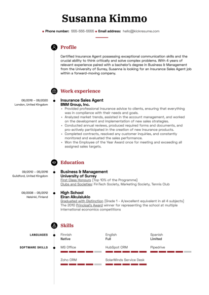 Insurance Sales Agent Resume Example