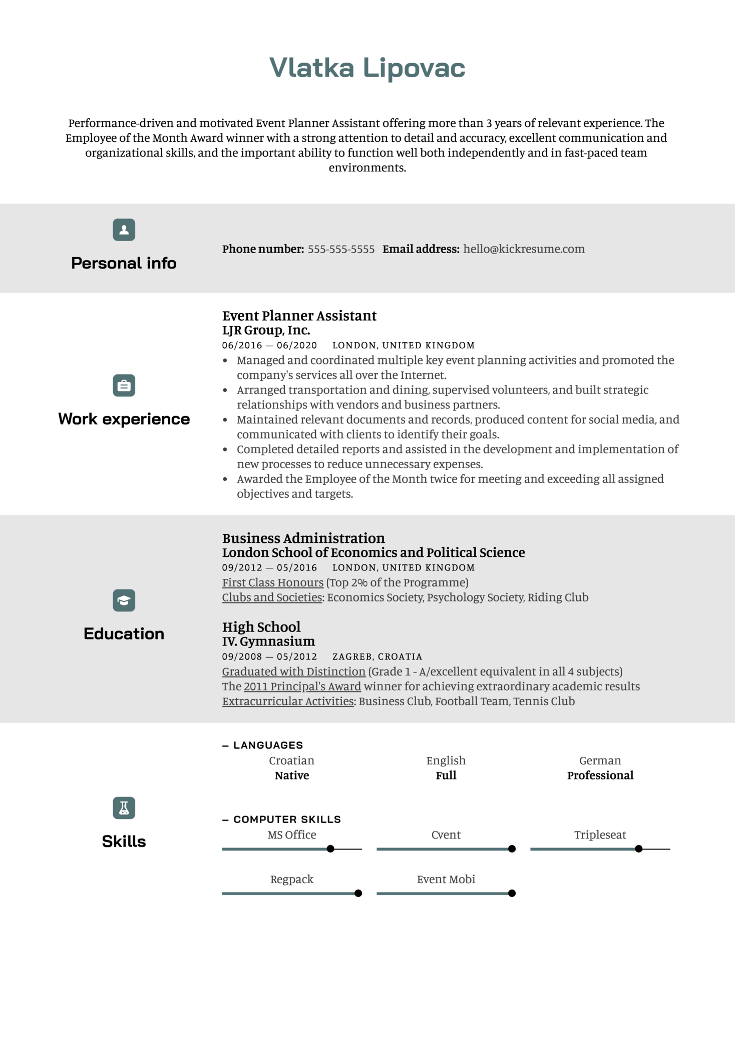 Event Planner Assistant Resume Sample