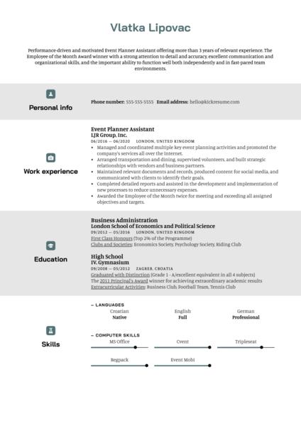 Event Planner Assistant Resume Sample