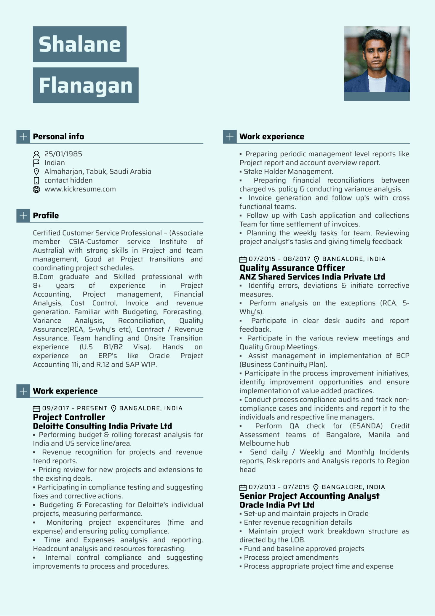 Deloitte finance manager resume template