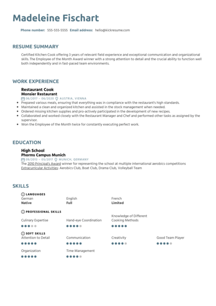 Free Restaurant Cook Resume Example