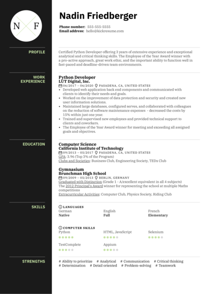 Python Developer Resume Sample